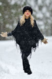 Pretty woman outdoor in winter Stock Image