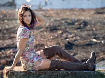 Pretty Woman Outdoors In Early Fall Royalty Free Stock Photo