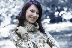 Pretty woman outside in winter Stock Photos