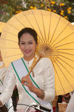 Pretty woman in parade,Umbrella festival in Thailand. Royalty Free Stock Photography