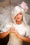 Pretty Woman with Parasol and Classic Dress Royalty Free Stock Photos