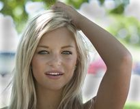 Pretty woman at a park Stock Images