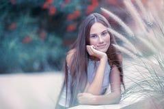 Pretty woman in the park stock photo