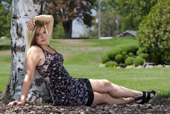 Pretty woman in the park Stock Photos