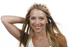 Pretty woman with pearls in her hair Royalty Free Stock Photos