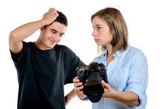 Pretty woman photographer and his student Stock Photos