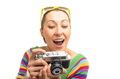 Pretty woman photographer Stock Images