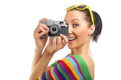 Pretty woman photographer Stock Photo