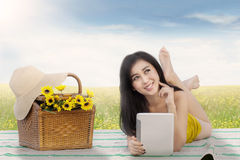 Pretty woman picnic on meadow Royalty Free Stock Images