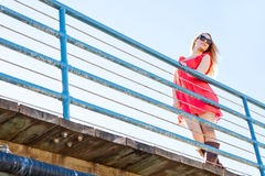 Pretty woman on the pier Royalty Free Stock Photos