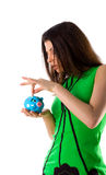 Pretty woman and piggy bank Stock Photo