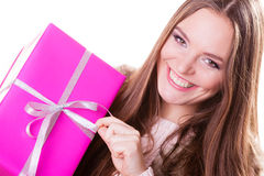 Pretty woman with pink box gift. Christmas holiday Stock Image