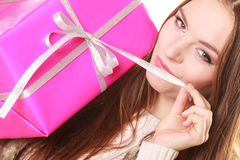 Pretty woman with pink box gift. Christmas holiday Royalty Free Stock Photo