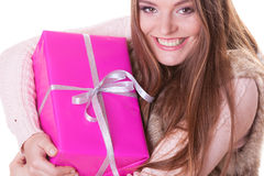 Pretty woman with pink box gift. Christmas holiday Royalty Free Stock Photography