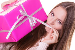 Pretty woman with pink box gift. Christmas holiday Stock Photo