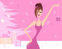 Pretty Woman and Pink Christmas Tree Royalty Free Stock Photo