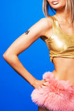 Pretty woman in a pink fur skirt Royalty Free Stock Photo