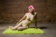 Pretty Woman with Pink Hair Royalty Free Stock Photos