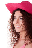 Pretty Woman with Pink Hat royalty free stock images
