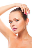 Pretty woman with pink nails and lips royalty free stock photos