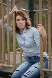 Pretty Woman on Playground stock photos