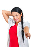 Pretty woman pointing to you stock image