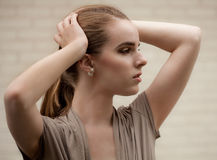 Pretty Woman With Ponytail royalty free stock image