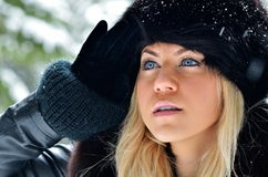 Pretty woman portrait outdoor in winter Royalty Free Stock Image