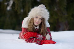 Pretty woman portrait outdoor in winter Stock Image