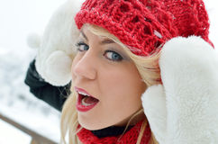 Pretty  woman portrait outdoor in winter Stock Photography