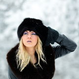 Pretty woman portrait outdoor in winter Royalty Free Stock Photo