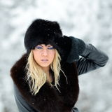 Pretty woman portrait outdoor in winter Royalty Free Stock Images
