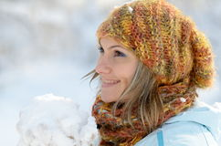 Pretty woman portrait outdoor in winter Stock Images
