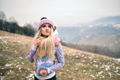 Pretty woman portrait outdoor in winter Royalty Free Stock Photography