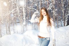 Pretty woman portrait outdoor in winter. Young woman at winter. Winter young woman portrait. Beautiful young woman laughing outdoo stock images