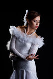 Pretty woman portrait in white flamenco costume Stock Photos