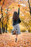 Pretty woman posing with bunch of maple`s leaves in autumn park. Beautiful landscape at fall season stock photos