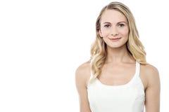 Pretty woman posing over white Stock Photos