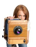 Pretty woman posing vintage camera Royalty Free Stock Photos