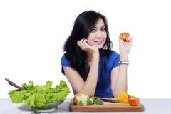 Pretty woman prepare salad Stock Image