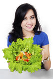 Pretty woman prepare salad 2 Stock Images