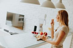 Pretty woman preparing healthy meal in the modern kitchen Stock Image