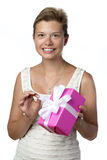 Pretty Woman With Present stock image