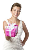 Pretty Woman With Present royalty free stock photography