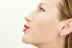 Pretty woman profile. Close up of a smiling woman lips Royalty Free Stock Photos