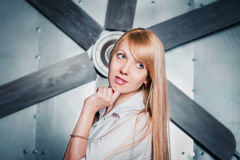 Pretty woman and propeller Stock Photography