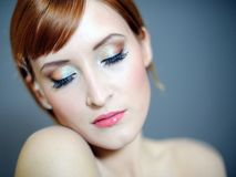 Pretty woman with pure skin and natural make-up Royalty Free Stock Image
