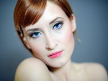 Pretty woman with pure skin and natural make-up Royalty Free Stock Photography