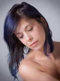 Pretty Woman With Purple Hair Royalty Free Stock Photos