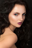 Pretty woman with purple lips Stock Images